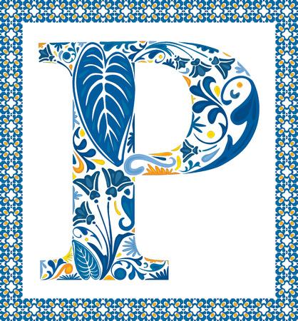 Blaue Blumengroßbuchstaben P im Rahmen der portugiesischen Fliesen