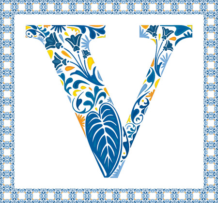 Blue floral capital letter V in frame made of Portuguese tiles Vector
