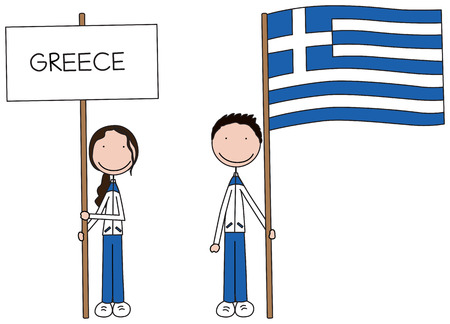 Illustration of a girl and boy holding Greek flag and banner  Vector