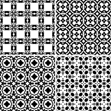 Set of four seamless pattern illustrations in traditional style Vector