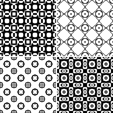 Seamless pattern illustration in traditional style - like Portuguese tiles - in black and white Vector