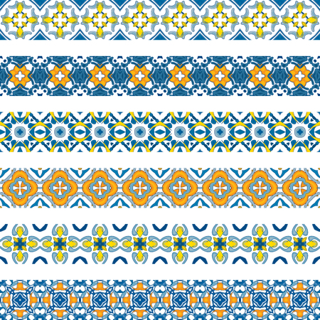 Set of six illustrated decorative borders made of Portuguese tiles Vector
