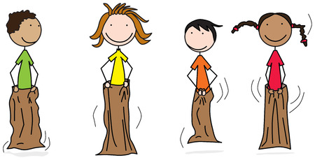 Illustration of four happy kids jumping in sacks Illustration