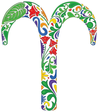 aries zodiac: Aries zodiac sign made of colorful floral elements