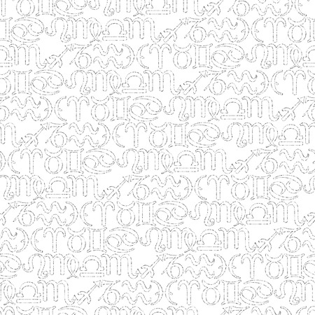 Illustrated seamless pattern made of black zodiac symbols on white Vector