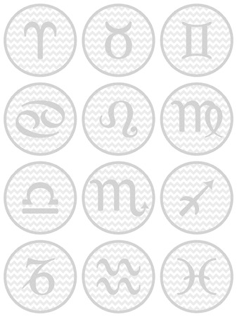 Set Of Twelve Zodiac Symbols On Grey Chevron Circles Royalty Free