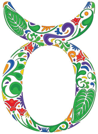 Taurus zodiac sign made of colorful floral elements