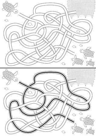 Sea turtle maze for kids with a solution in black and white Vector