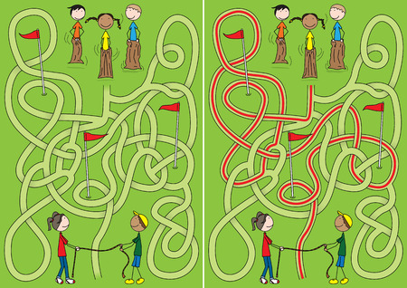 Happy kids maze with a solution Vector