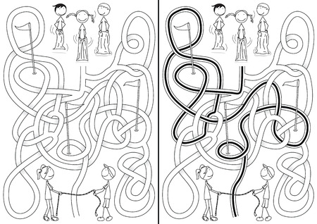 Happy kids maze with a solution in black and white Vector