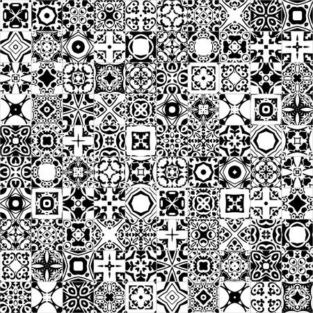 ポルトガルのタイルのような伝統的なスタイル - - 黒と白のシームレスなパターン図