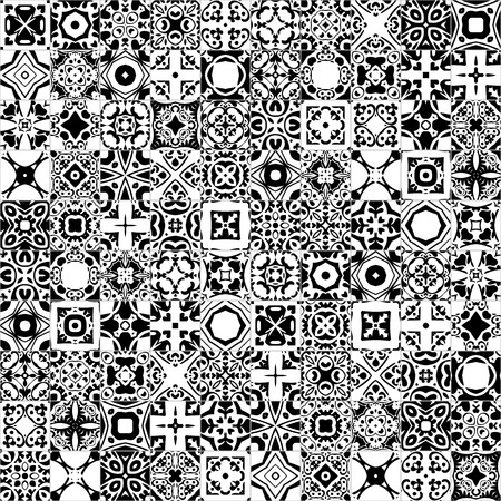spanish tile: Seamless pattern illustration in traditional style - like Portuguese tiles - in black and white Illustration