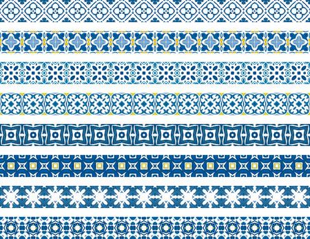 bordi decorativi: Set di otto bordi decorativi illustrati in tegole portoghesi