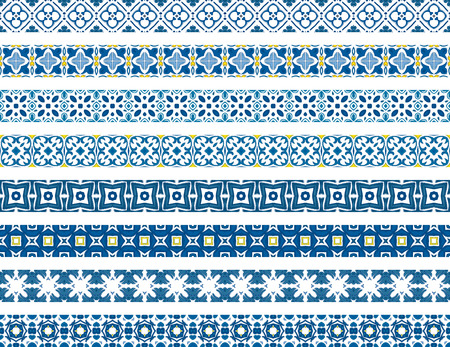 portuguese: Set of eight illustrated decorative borders made of Portuguese tiles