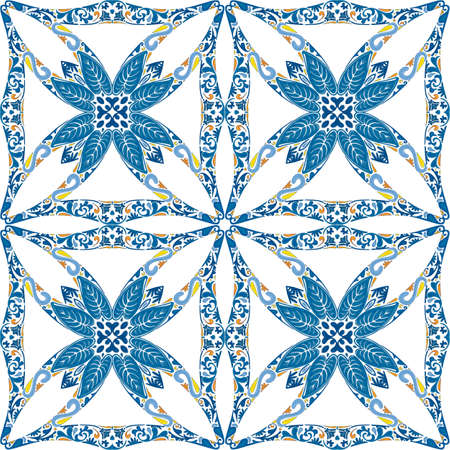 Seamless pattern illustration in traditional style - like Portuguese tiles Vector