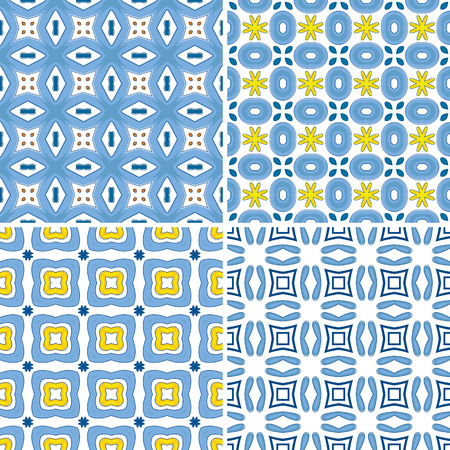 Set of four seamless pattern illustration in traditional style - like Portuguese tiles Vector