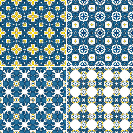 four pattern: Set of four seamless pattern illustration in traditional style - like Portuguese tiles