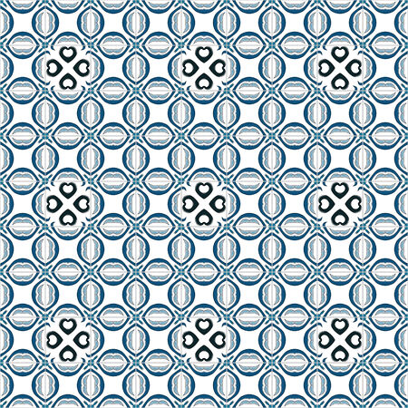 white tile: Seamless pattern illustration in traditional style - like Portuguese tiles