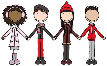 ropa de invierno: Ilustraci�n o cuatro ni�os sosteniendo las manos en ropa de invierno Vectores