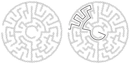 brain mysteries: Round maze with a solution - made of illustrated leaves Illustration