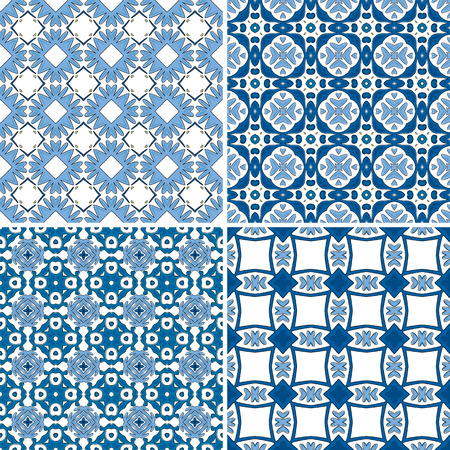 four pattern: Set of four pattern illustrations in traditional style - like Portuguese tiles