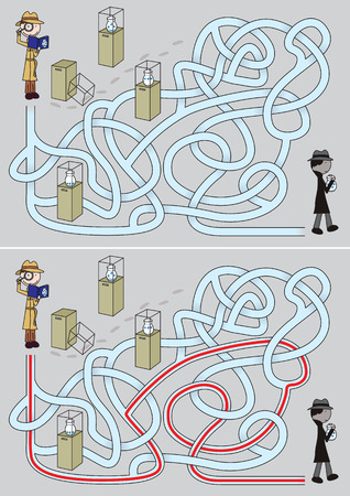 Detective maze for kids with a solution Ilustrace