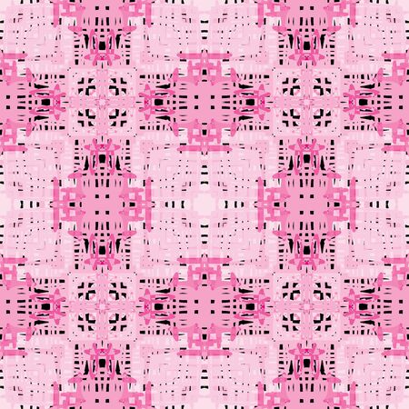 pink and black: Seamles illustrated pattern in pink and black