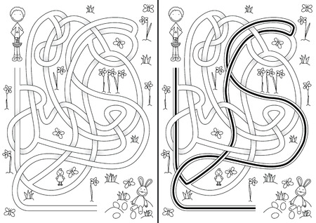 Egg hunt maze for kids with a solution in black and white