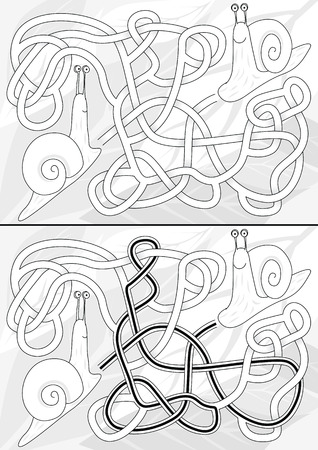 Snail maze for kids with a solution in black and white
