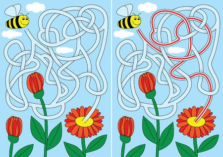 Bee maze for kids with a solution