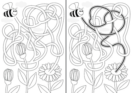Bee maze for kids with a solution in black and white Illustration