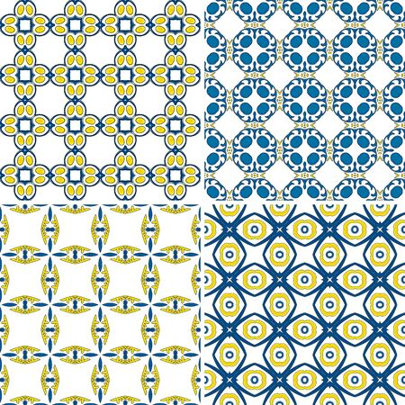 Set of four seamless pattern illustrations in traditional style - like Portuguese tiles Vector