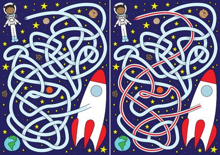 laberinto: Laberinto de espacio para los ni�os con una soluci�n