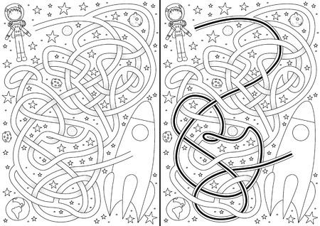 estrella caricatura: Laberinto espacio para los ni�os con una soluci�n en blanco y negro