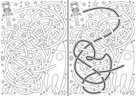 space cartoon: Space maze for kids with a solution in black and white