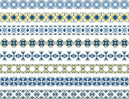 cenefas decorativas: Conjunto de ocho fronteras decorativas ilustradas hecha de azulejos portugueses