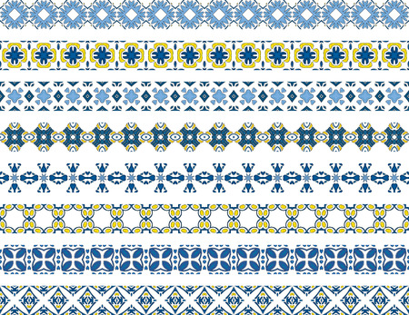 Set of eight illustrated decorative borders made of Portuguese tiles Vector