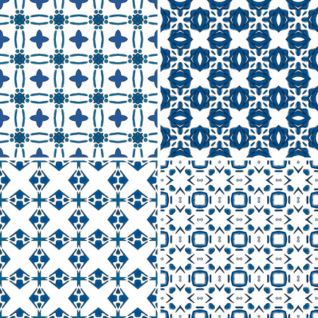 four pattern: Set of four seamless pattern illustrations in traditional style - like Portuguese tiles