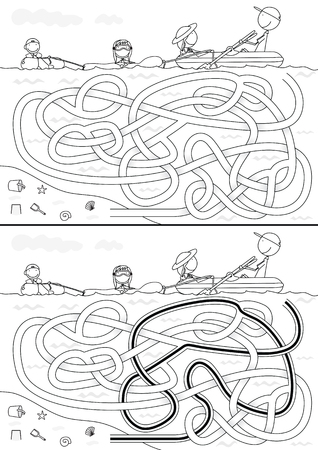 black family: Happy family maze for kids with a solution in black and white