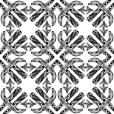 Seamless pattern illustration made of floral elements in black and white - like Portuguese tiles Vector