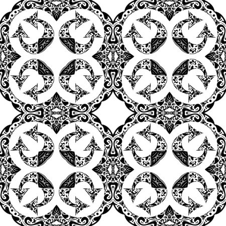Seamless pattern illustration in traditional style - like Portuguese tiles in black and white Vector