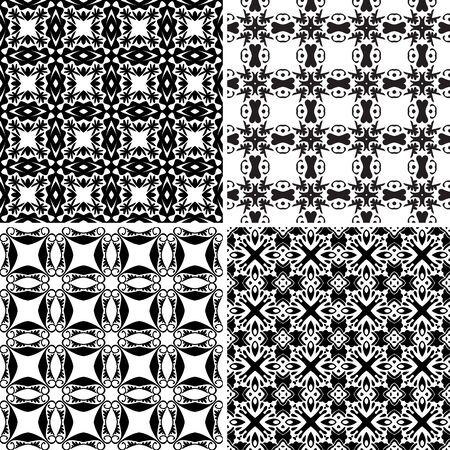 four pattern: Set of four seamless pattern illustrations in traditional style - like Portuguese tiles in black and white