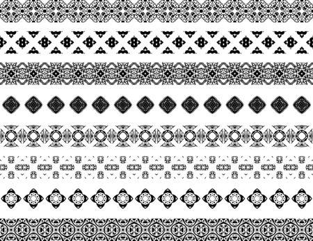 cenefas decorativas: Conjunto de ocho fronteras decorativas ilustradas hecha de azulejos portugueses en blanco y negro Vectores