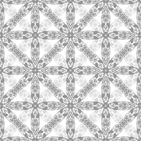 Seamless pattern illustration in traditional style - like Portuguese tiles in grey Vector