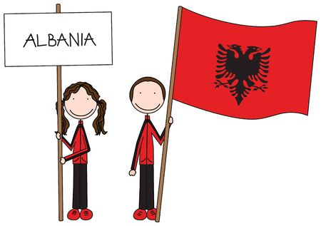 albanian: Illustration of a girl and boy holding Albanian flag and banner Illustration