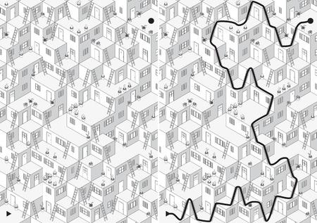 laberinto: Laberinto Village para los ni�os con una soluci�n en blanco y negro