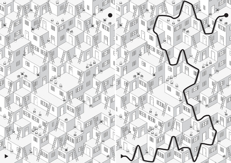 maze: Village maze for kids with a solution in black and white Illustration