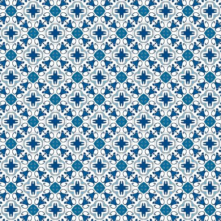 traditional illustration: Seamless pattern illustration in traditional style - like Portuguese tiles