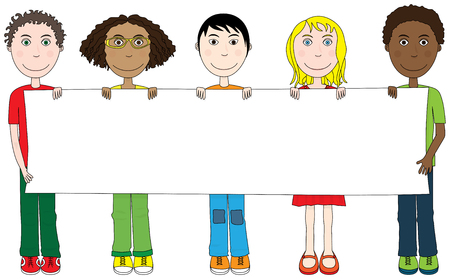 cartoon banner: Cartoon illustration of five kids holding blank banner