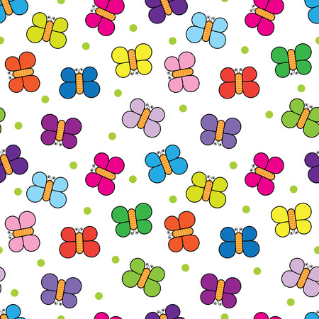purple butterfly: Seamless pattern made of illustrated butterflies on white background